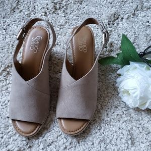 Franco sarto julien taupe leather sling wedge 9.5M